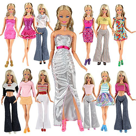 BARWA Lot 20 = 10 Set Fashion Handmade Clothes Outfit + 10 Pairs Shoes for Barbie Doll XMAS GIFT