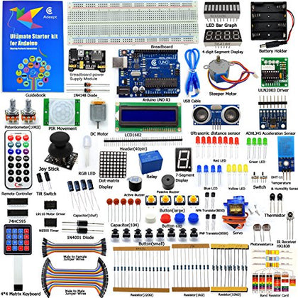 Adeept Ultimate Starter Kit for Arduino UNO R3, LCD1602, Servo Motor, Relay, Processing and C Code, Beginner Starter Kit with 140 Pages Guidebook/Instructions Book