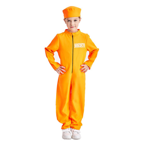 Charm Rainbow Kid'S Prisoner Jumpsuit Costume Orange Jail Cosplay Suit, 3-12 Years(S)