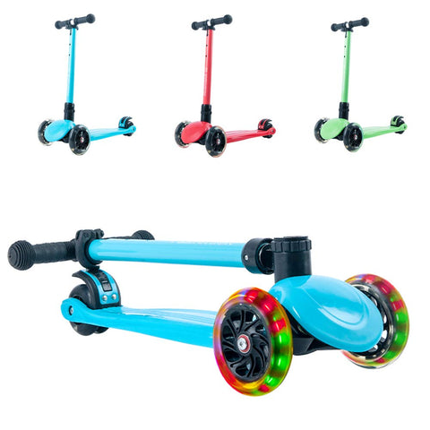 Playshion Foldable Kick Scooter For Kids With Adjustable Height And Led Light Up Wheels Width 30Mm Blue