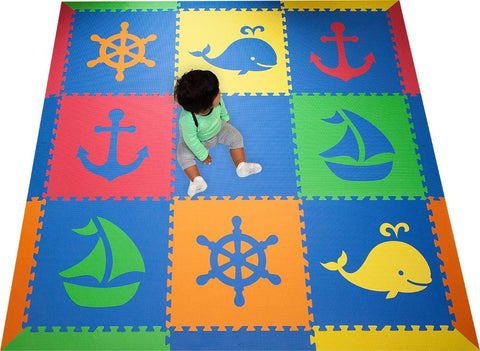 Softtiles Kids & Baby Foam Playmat- Nautical Ocean Theme- Interlocking Blue, Red, Orange, Yellow, Lime Floor Tiles For Children'S Playrooms And Baby Nursery- Large 6.5 X 6.5 Ft.- Scnaubroyl