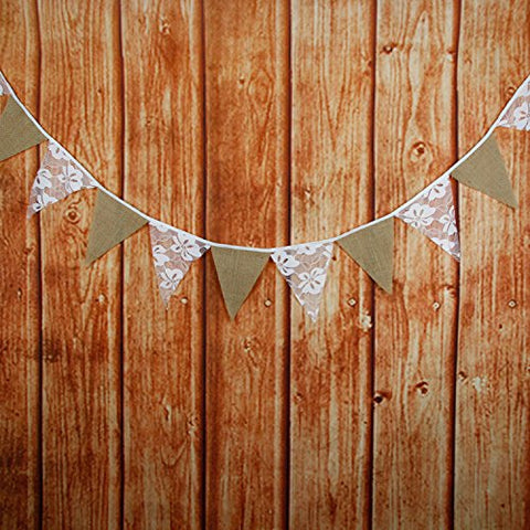 INFEI Gardenia Flower White Lace & Burlap Fabric Flag Buntings Garlands Wedding Birthday Party Decoration