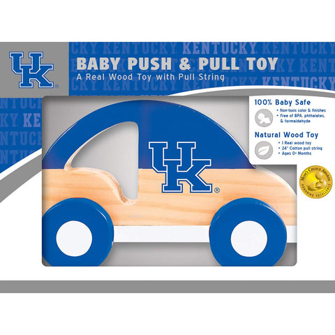Masterpieces Ncaa Kentucky Wildcats,  Natural Wood, Non-Toxic, Bpa, Phthalates, & Formaldehyde Free, Push & Pull Toy With Cotton String