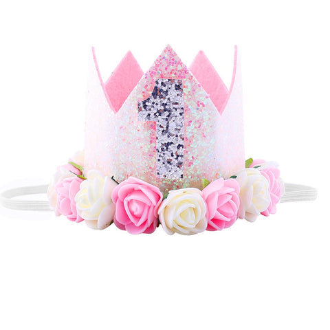 "Maticr Glitter 1/2 1St Birthday Princess Flower Crown Tiara Headband Cake Smash Photo Prop For Baby Girl (Number 1"")"