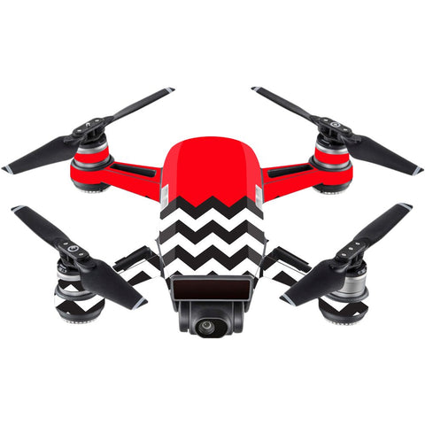 Mightyskins Skin Compatible With Dji Spark Mini - Red Chevron | Protective, Durable, And Unique Vinyl Decal Wrap Cover | Easy To Apply, Remove, And Change Styles | Made In The Usa