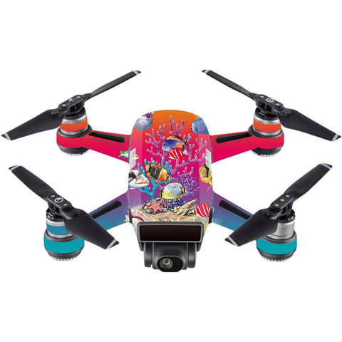 Mightyskins Skin Compatible With Dji Spark Mini  Coral Garden | Protective, Durable, And Unique Vinyl Decal Wrap Cover | Easy To Apply, Remove, And Change Styles | Made In The Usa
