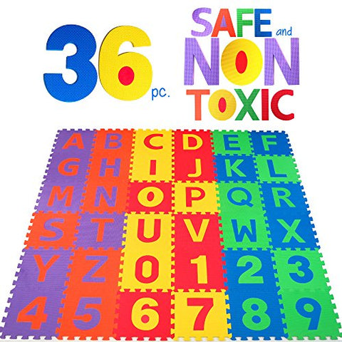 NON-TOXIC 36 Piece ABC Foam Mat - Alphabet & Number Puzzle Play & Flooring Mat for Children & Toddlers