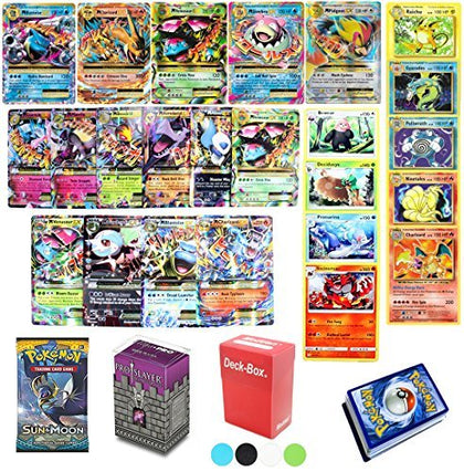 50 Pokemon Card Lot Mega EX - Booster Pack - Elite Trainer Kit Free Deck Box Random Bonus & Sleeves