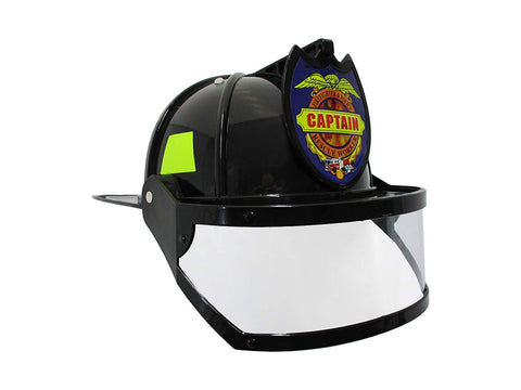 Nicky Bigs Novelties Fire Chief Plastic Helmet With Folding Visor Costume, Black/Yellow, One Size