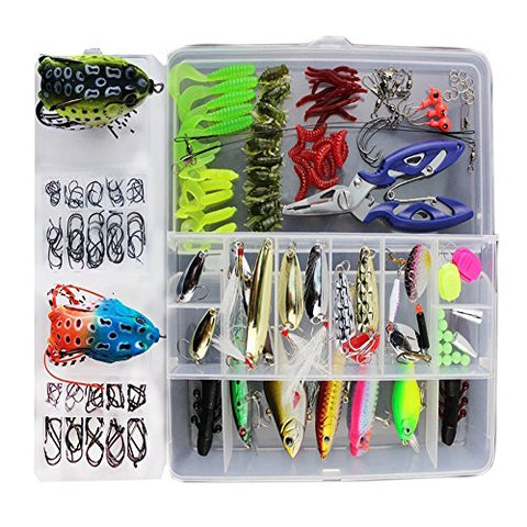 Fishing Lure 233Pcs 1 Set Freshwater Saltwater Trout Bass Salmon Spinner Baits Topwater Fishing Froglures Fishing Tackle Crankbaits Lures Spinner Baits Spoon Lures With Plier