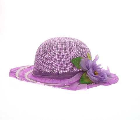 Cutie Collections Girls Tea Party Flower Costume Sun Hats (Purple)