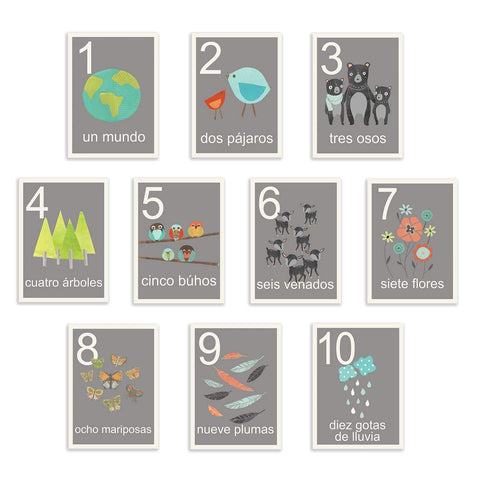 Our World Counting Cards In Spanish, Number Flash Cards, Set Of Ten 08X10 Inch Print Wall Art Prints, Nursery Wall Decor, Kid'S Art Decor, Gender Neutral Nursery, Nature