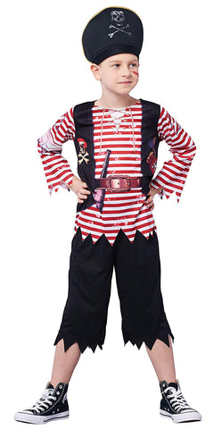 Boys Pirate Costume Set, Skull Crossbones Striped Caribbean Buccaneer Outfit, Captain Jack Pretend Play Suit (7-8Y)