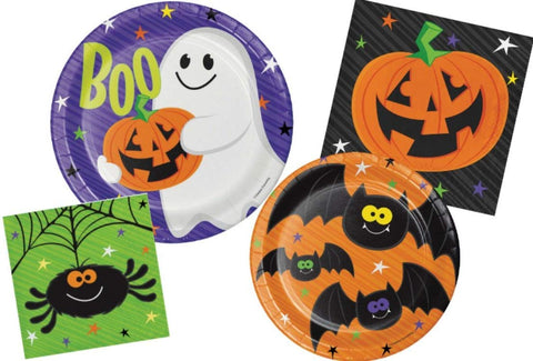 Halloween Party Supply Pack - Happy Haunts Design: Bundle Includes Paper Plates And Napkins For 8 Guests