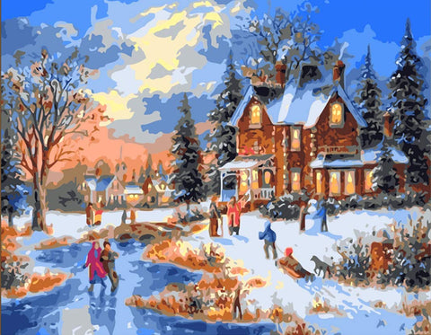 Captaincrafts New Paint By Number Kits - Town Winter Scene 16X20 Inch Frameless - Diy Painting By Numbers For Adults Beginner Kids