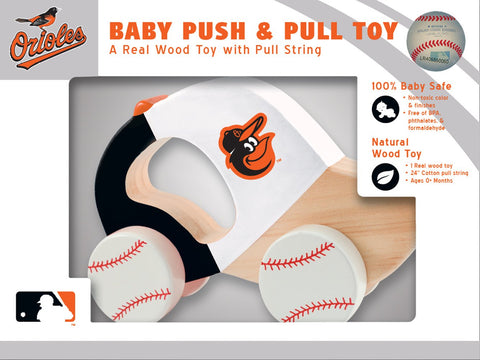 Masterpieces Mlb Baltimore Orioles, Natural Wood, Non-Toxic, Bpa, Phthalates, & Formaldehyde Free, Push & Pull Toy With Cotton String