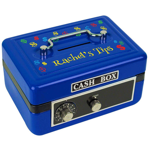 Personalized Dollar Signs Primary Childrens Blue Cash Box