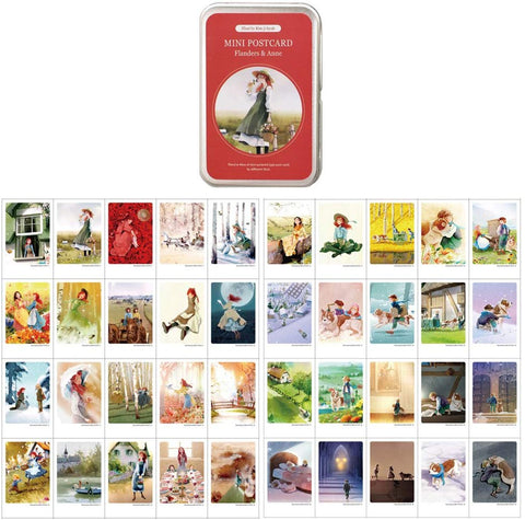 "Illustrated Mini Card 40 Greeting Cards Per Tin Case Decorative & Message Card Set Of 40 Sheets 2.17"" X 3.35"" (Anne & Flanders)"