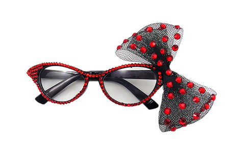Pet Show Fashion Rhinestone Cat Eye Women Girls Novelty Party Fancy Dress Glasses With Big Bowknot Color Red
