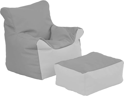 Ecr4Kids Bean Bag Chair And Ottoman Set, Grey And Light Grey