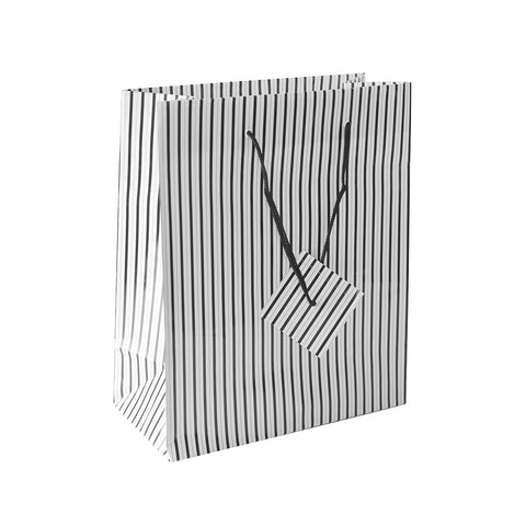 Solid Colored Blank Paper Party Gift Bags With String Handles For Birthday Favors, Snacks, Wedding Bridal, Decoration, Arts & Crafts, Event Supplies (12 Bags) By Super Z Outlet (Black/White Stripes)