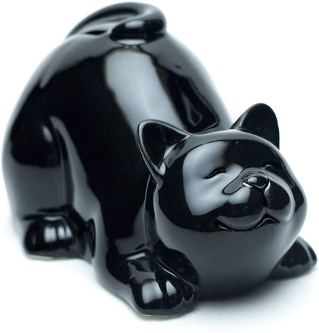 Cute Happy Cat Piggy Bank, Kitty Cat Coin Bank, Ceramic Toy Coin Bank, Decorative Saving Bank, Money Bank, Adorable Cat Figurine For Boy, Girl, Baby, Kid, Child, Adult Cat Lover (Lying, Black)