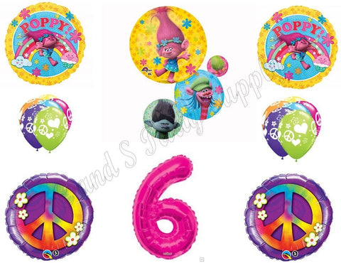Trolls Peace 6Th Happy Birthday Party Balloons Decoration Supplies Poppy Branch Movie