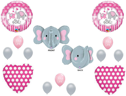 New! It'S A Girl Elephant Baby Shower Balloons Decoration Supplies Zoo Pink