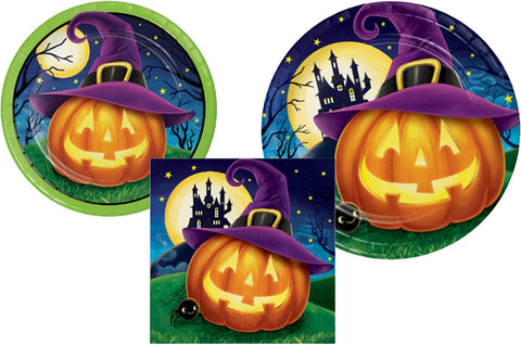 Halloween Party Supply Pack - October Eve Design: Bundle Includes Paper Plates And Napkins For 8 Guests