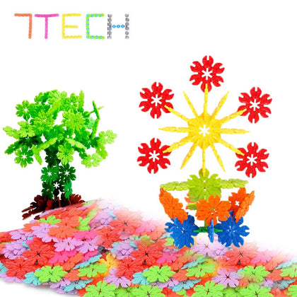 7Tech Interlocking Snowflake Building Blocks Stem Educational Toys - 300 Piece Set Of Plastic Discs For Preschool, Toddler And School Boys And Girls