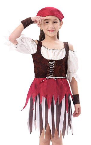 Ikali Baby Toddler Girl Pirate High Seas Buccaneer Costume Party Decoration Toy Kids Pretend Play Pirate Fancy Dress (4-6Y)
