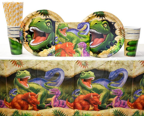 Dino Blast Party Supplies Pack For 16 Guests: Straws, Dinner Plates, Luncheon Napkins, Cups, And Table Cover