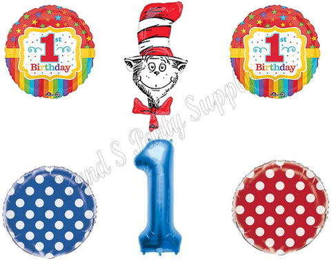 1St Dr. Seuss Cat In The Hat Birthday Party Balloons Decoration Supplies First