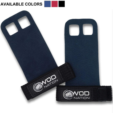 Wod Nation Leather Barbell Gymnastics Grips Perfect For Pull-Up Training, Kettlebells, Gymnastic Rings (Blue, Medium)