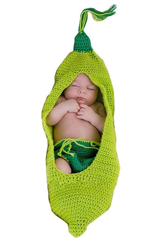 Ufraky Baby Infant Newborn Photography Prop Green Pea Sleeping Bag Hat Shorts Costume Outfit Set (Green Pea)