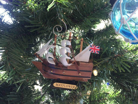 Hampton Nautical Wooden Mayflower Tall Model Ship Christmas Ornament, 4""