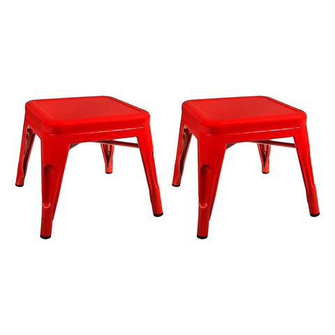 "Sprogs Tolix Style Square Metal Stool, 12"" H, Red, Spg-Xuw1067Rd-So"
