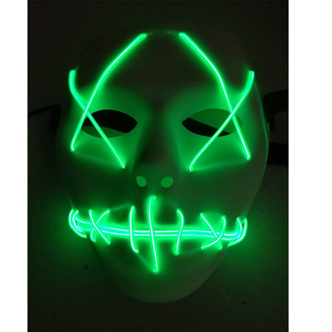 Halloween Mask Cosplay Led Glow Scary El Wire Light Up Grin Masks For Festival Parties Costume (Green)