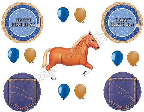 Blue Bandana Tan Horse Happy Birthday Party Balloons Decoration Supplies Cowboy Western Rodeo