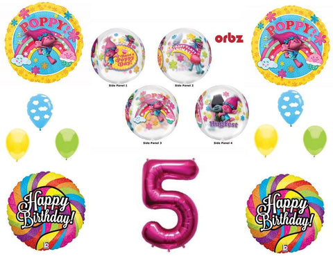 Trolls 5Th Orbz Happy Birthday Party Balloons Decoration Supplies Poppy Branch Movie