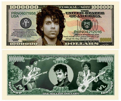 Prince Million Dollar Bill With Bonus Thanks A Million Gift Card Set And Clear Protector