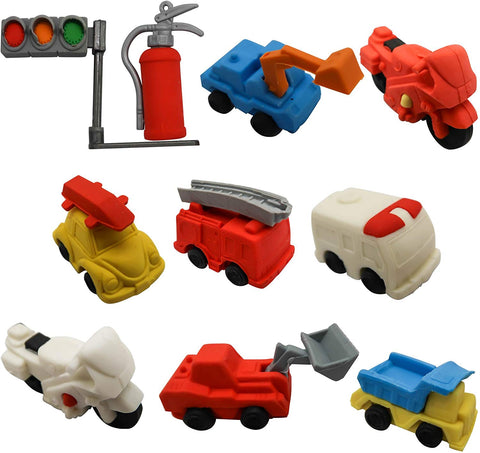 Toaob 10Pcs Puzzle Eraser Vehicle Non-Toxic Best For Kids Fun Games And Collection