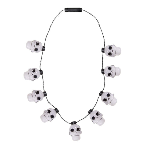 Led Skull Light Up Necklace For Halloween - 3 Flashing Modes