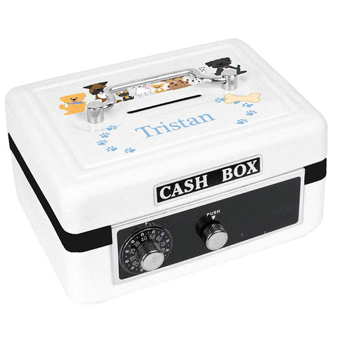 Personalized Blue Dogs Childrens White Cash Box