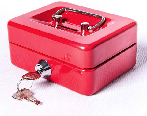 Small Cash Box With Lock And Slot - Jssmst Metal Coin Bank Piggy Bank For Adults And Kids, Red(Smcb0303N)