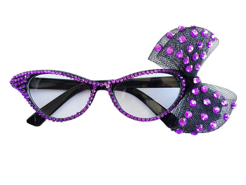 Pet Show Fashion Rhinestone Cateye Clear Lens Women Girls Party Fancy Dress Glasses With Big Bowknot Color Purple
