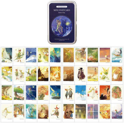 "Mini Illustrated Card 40 Instax Mini Cards Per Tin Case Decorative & Message Card 2.17"" X 3.35"" (Peter Pan)"