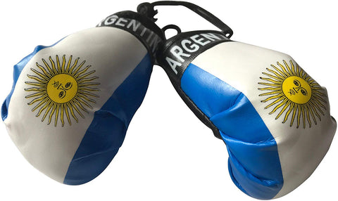 Flag Mini Small Boxing Gloves To Hang Over Car Automobile Mirror  Americas (Country: Argentina)