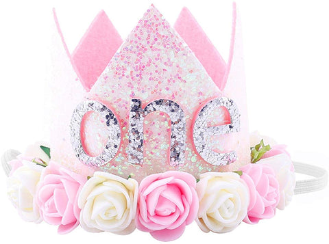 Maticr Glitter 1/2 1St Birthday Princess Flower Crown Tiara Headband Cake Smash Photo Prop For Baby Girl (Letter One)