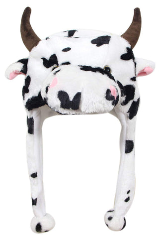 Bioterti Plush Fun Animal Hats One Size Cap - 100% Polyester With Fleece Lining (White Cow)